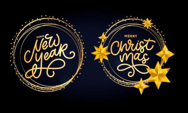 Feliz natal e feliz ano novo letras manuscritas com escova moderna em moldura dourada