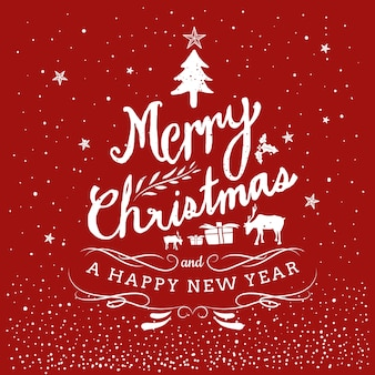 Feliz natal e feliz ano novo mão desenhada