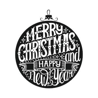 Feliz natal e feliz ano novo. mão desenhar letras