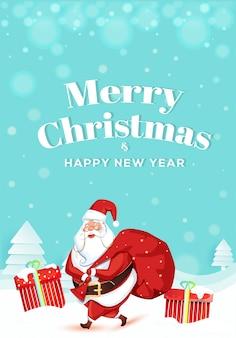 Feliz natal e feliz ano novo modelo com papai noel, levantando um saco pesado e caixa de presente na paisagem de neve