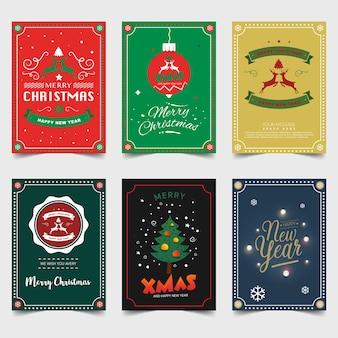 Feliz natal e feliz ano novo modelo de folheto tipografia cartão.