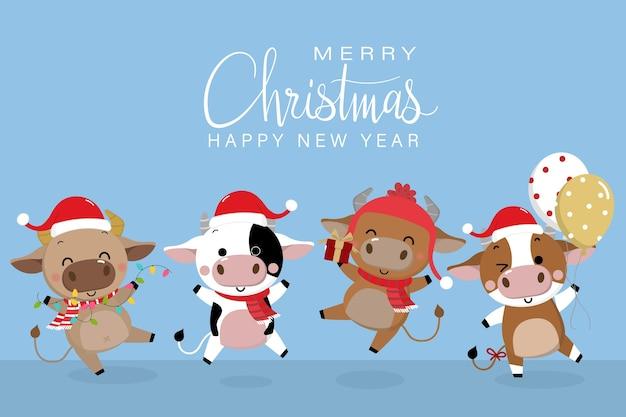 Feliz natal e feliz ano novo . o ano do boi.