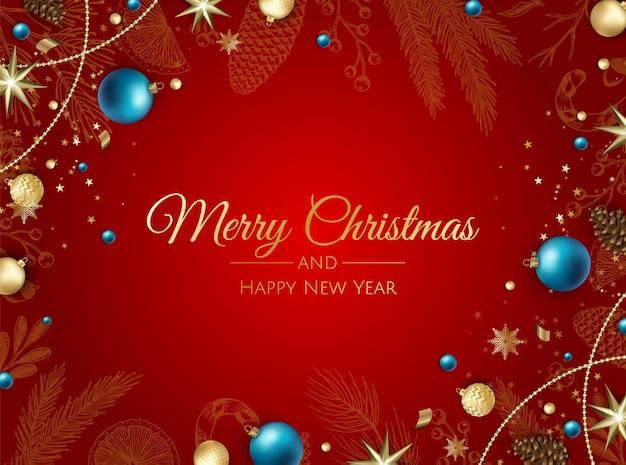 Feliz natal e feliz ano novo ornamento realista cartão de felicitações