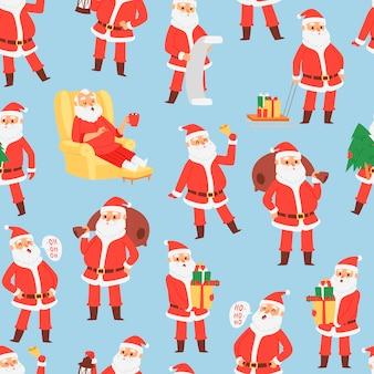 Feliz natal e feliz ano novo padrão sem emenda com papai noel e presentes