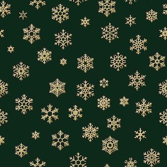 Feliz natal e feliz ano novo padrão sem emenda de flocos de neve de inverno dourado.