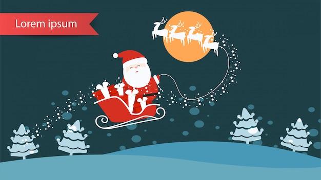 Feliz natal e feliz ano novo paisagem conceito banner para web design