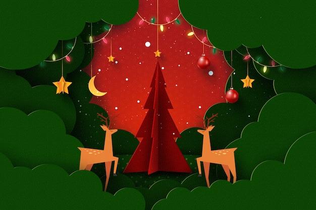 Feliz natal e feliz ano novo paisagem da temporada de invernodecorado com luzes e estrelas de veados na árvore de natal arte em papel