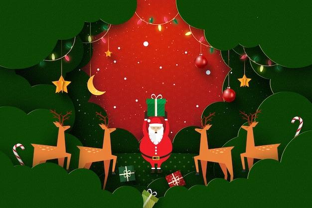 Feliz natal e feliz ano novo paisagem de inverno, decorada com luzes e estrelas de veados do papai noel arte em papel