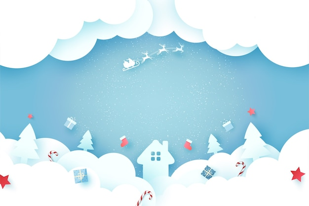 Feliz natal e feliz ano novo. paisagem de temporada de inverno com papai noel no trenó.