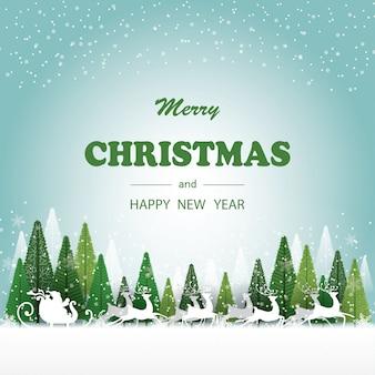 Feliz natal e feliz ano novo papai noel e veados correndo na neve, tem a cor verde da árvore e floco de neve no fundo,