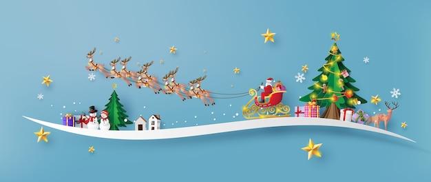 Feliz natal e feliz ano novo, papai noel no céu chegando à cidade, arte em papel e estilo de corte de papel