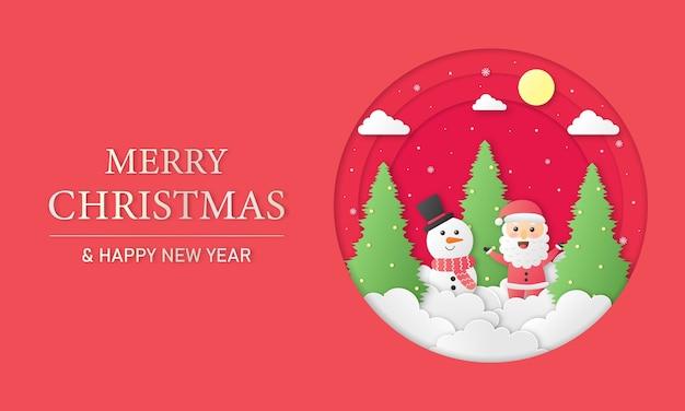 Feliz natal e feliz ano novo papel cortado cartão com boneco de neve e papai noel em fundo vermelho
