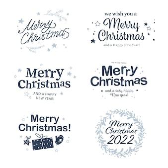 Feliz natal e feliz ano novo parabéns designs com escrita de mão e ícones de férias isolados. ilustração em vetor plana. para cartões, banners, estampas, embalagens, convites, etiquetas.