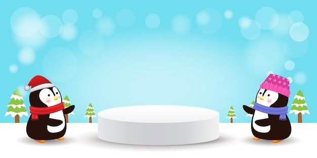 Feliz natal e feliz ano novo, pedestal de palco ou formato de pódio de geometria de plataforma