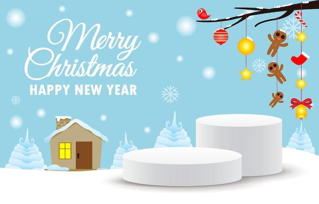 Feliz natal e feliz ano novo pedestal de palco ou pódio