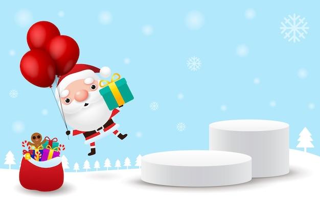 Feliz natal e feliz ano novo pedestal ou plataforma de palco