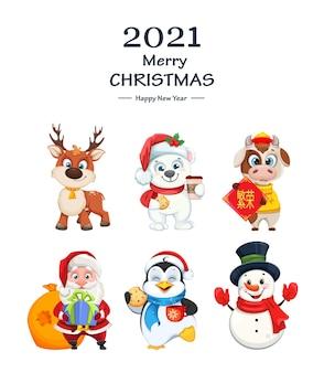 Feliz natal e feliz ano novo. personagens fofinhos de desenho animado