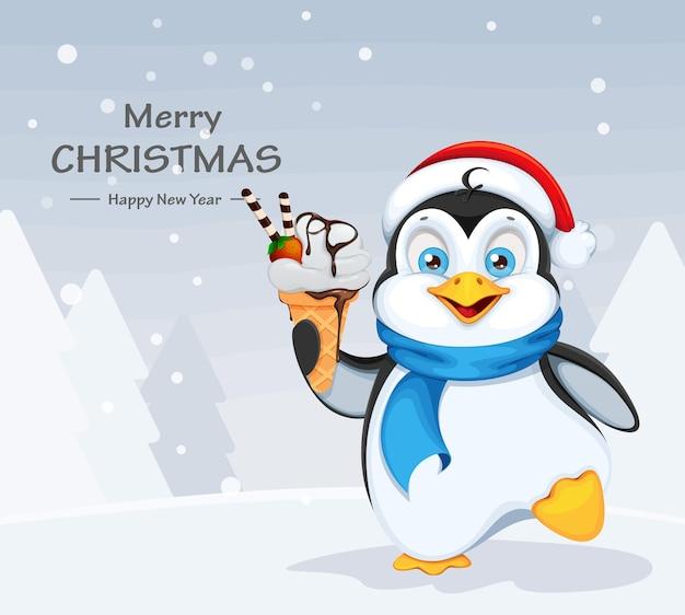 Feliz natal e feliz ano novo. pinguim fofo Vetor Premium