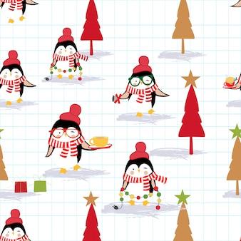 Feliz natal e feliz ano novo pinguim