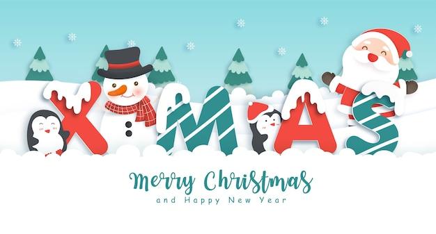 Feliz natal e feliz ano novo plano de fundo com papai noel fofo e pinguins na floresta de neve para cartão.