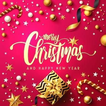Feliz natal e feliz ano novo pôster com caixa de presente