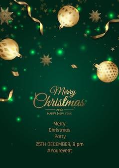 Feliz natal e feliz ano novo pôster com flocos de neve e bolas