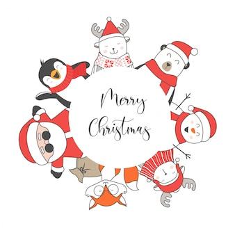 Feliz natal e feliz ano novo quadro de personagens plana fofa