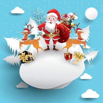 Feliz natal e feliz ano novo. rena de papai noel com saco de papel de banner de presente um