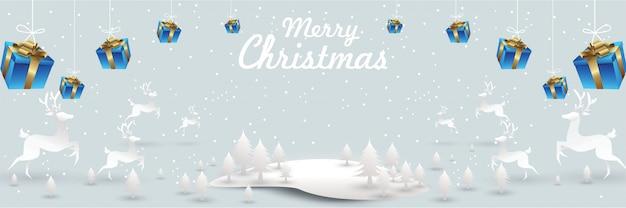 Feliz natal e feliz ano novo. rena de santa na cena de neve de natal
