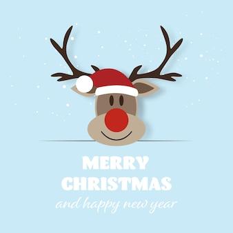 Feliz natal e feliz ano novo, rena engraçada com cartão de felicitações. ilustração vetorial
