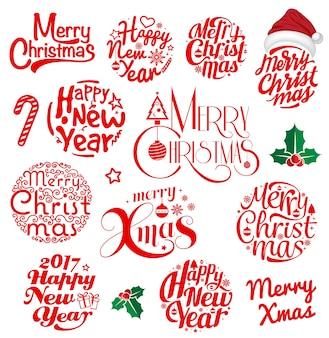 Feliz natal e feliz ano novo, rotulando o conjunto de círculo