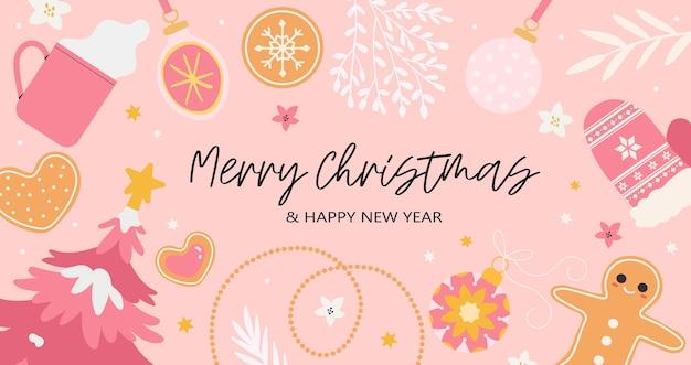 Feliz natal e feliz ano novo saudação banner.