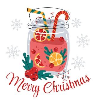 Feliz natal e feliz ano novo saudação ilustração de elemento de design de cartão de bebida quente