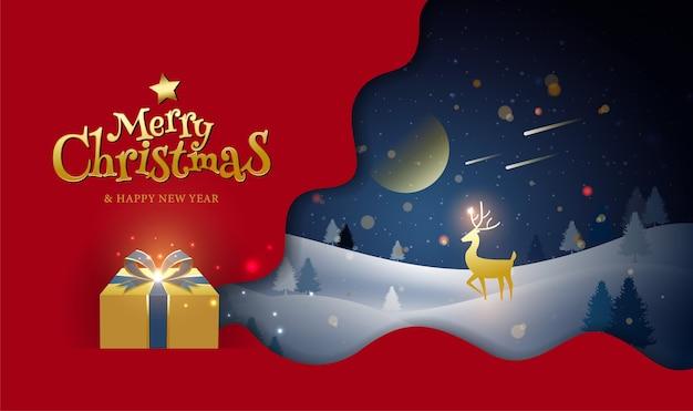 Feliz natal e feliz ano novo, saudação, inverno