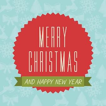 Feliz natal e feliz ano novo sobre ilustração vetorial de fundo azul