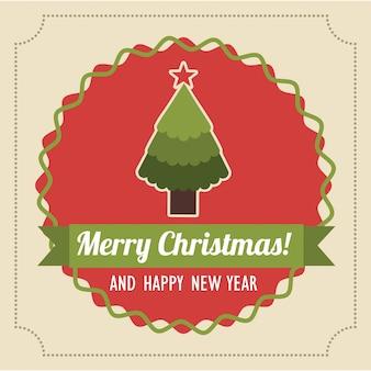 Feliz natal e feliz ano novo sobre ilustração vetorial de fundo rosa