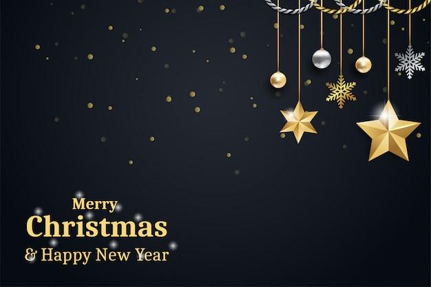 Feliz natal e feliz ano novo tema dourado e preto