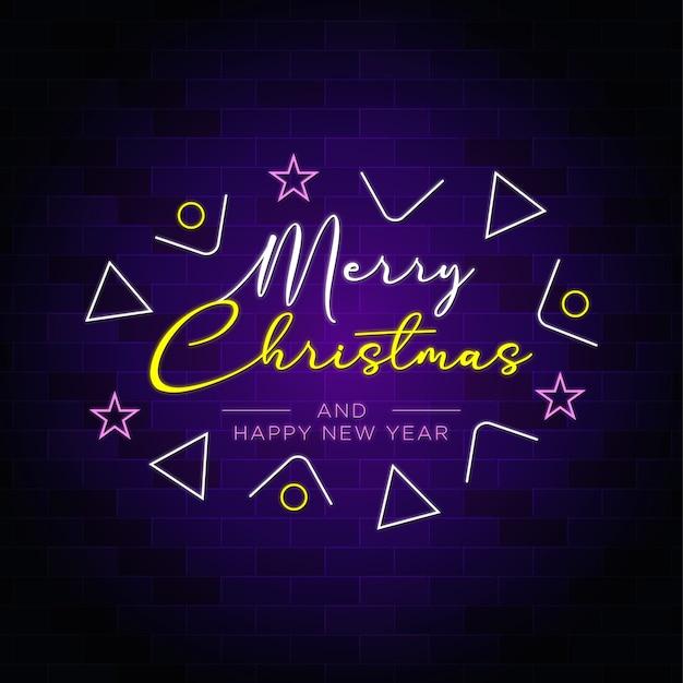 Feliz natal e feliz ano novo texto em néon com decoração elegante