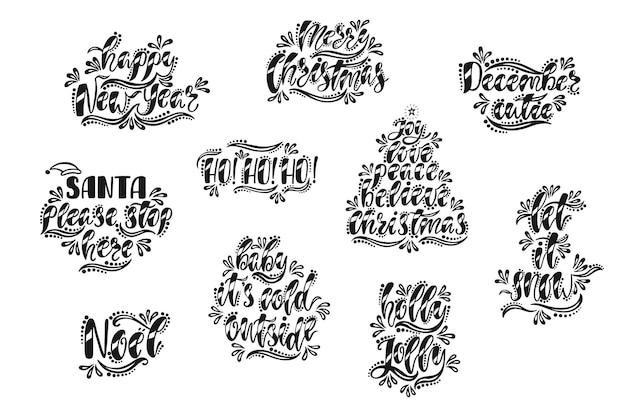 Feliz natal e feliz ano novo tipografia design. texto de caligrafia desenhada de mão. cartões de natal preto e branco. ilustração vetorial eps10