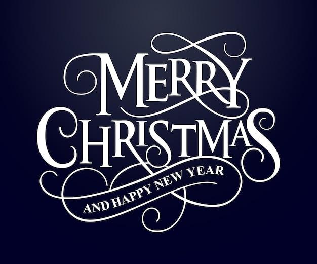 Feliz natal e feliz ano novo tipografia para cartões e cartazes.