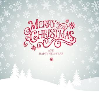 Feliz natal e feliz ano novo tipografia