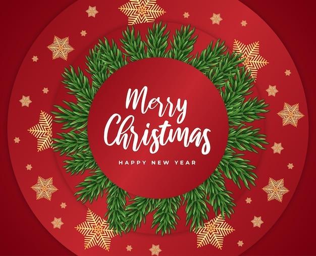 Feliz natal e feliz ano novo vale-presente cartão vermelho galho de árvore e vetor de flocos de neve