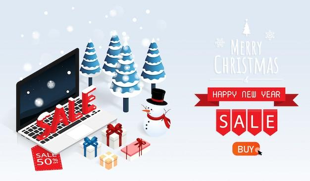 Feliz natal e feliz ano novo venda on-line vector