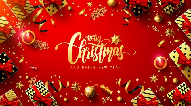 Feliz natal e feliz ano novo vermelho pôster