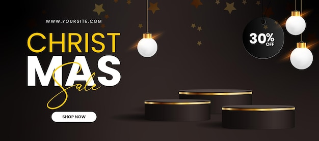 Feliz natal e feliz ano novo web banne com realistic podium