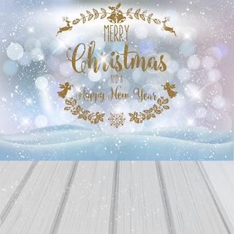 Feliz natal e feliz ano novo. Vetor Premium