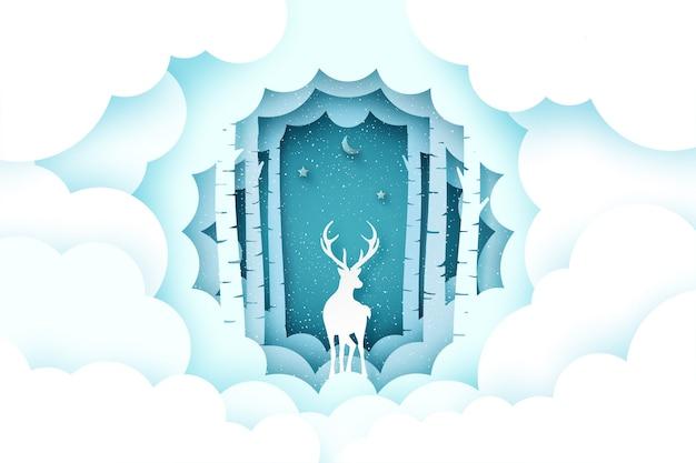 Feliz natal e fundo de temporada de inverno. veados na floresta de pinheiros com nuvens.