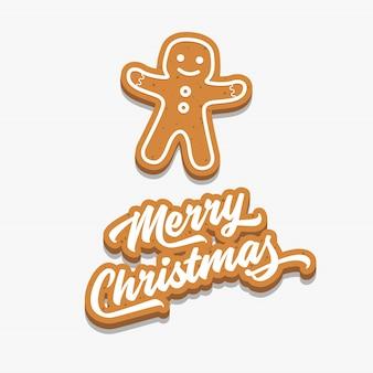 Feliz natal e homem de gengibre.