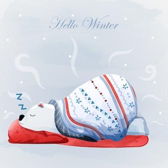Feliz natal e olá inverno com urso polar.