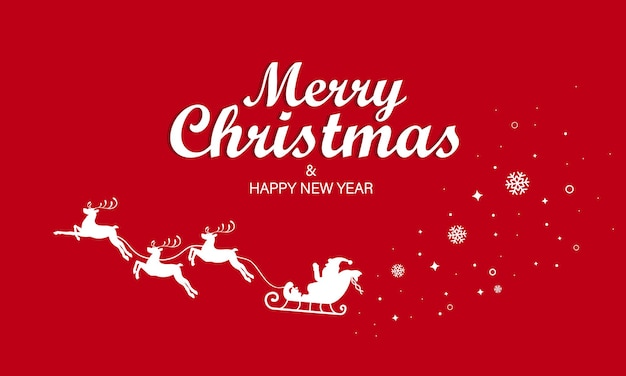 Feliz natal e um banner de feliz ano novo. cartão presente. vetor em fundo vermelho isolado. eps 10.